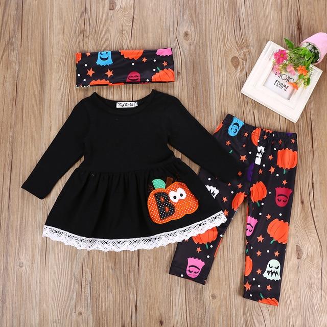 387c76497 Halloween Kids Baby Girls Clothes Long Sleeve T shirt + Pants Casual ...