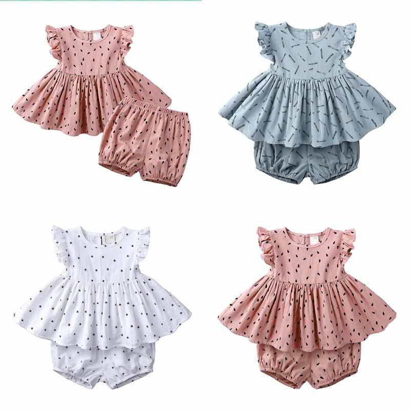 Infant Baby Kid Girl Set Ruffle Print Sleeveless Dress+Bread Shorts 2Piece Toddler Outfits Clothes 6 Month to 7 Years Child Suit
