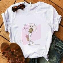 ca516d250 Hello April T-Shirt 100% Cotton Casual Women T-Shirts Super Soft White Tees  Summer Flower Umbrella Lady Illustration T-Shirt