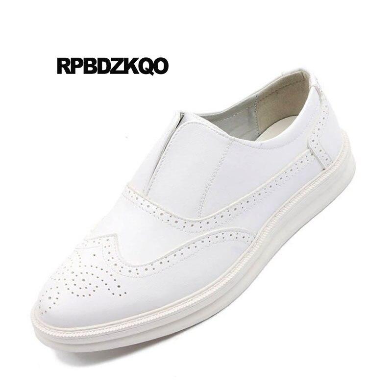 Pointu Designer Hommes Creepers Slip British Confort Casual Noir Sur Le Bout Caoutchouc Mode Chaussures Brogue New Blanc blanc Style Wingtip m8vnwN0