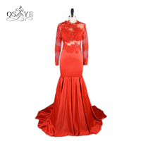Real Photos Red Mermaid Lace Prom Dresses 2017 Robe de Soiree Jewel Neck Long Sleeves Floor Length Satin Evening Dress
