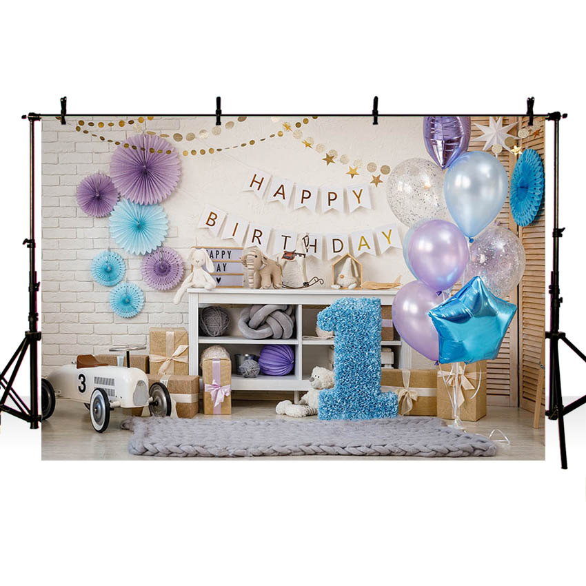1st Birthday <font><b>Backdrops</b></font> for Photography <font><b>Boy</b></font> Party Blue Balloon <font><b>Baby</b></font> <font><b>shower</b></font> Photo Background Photo booth image