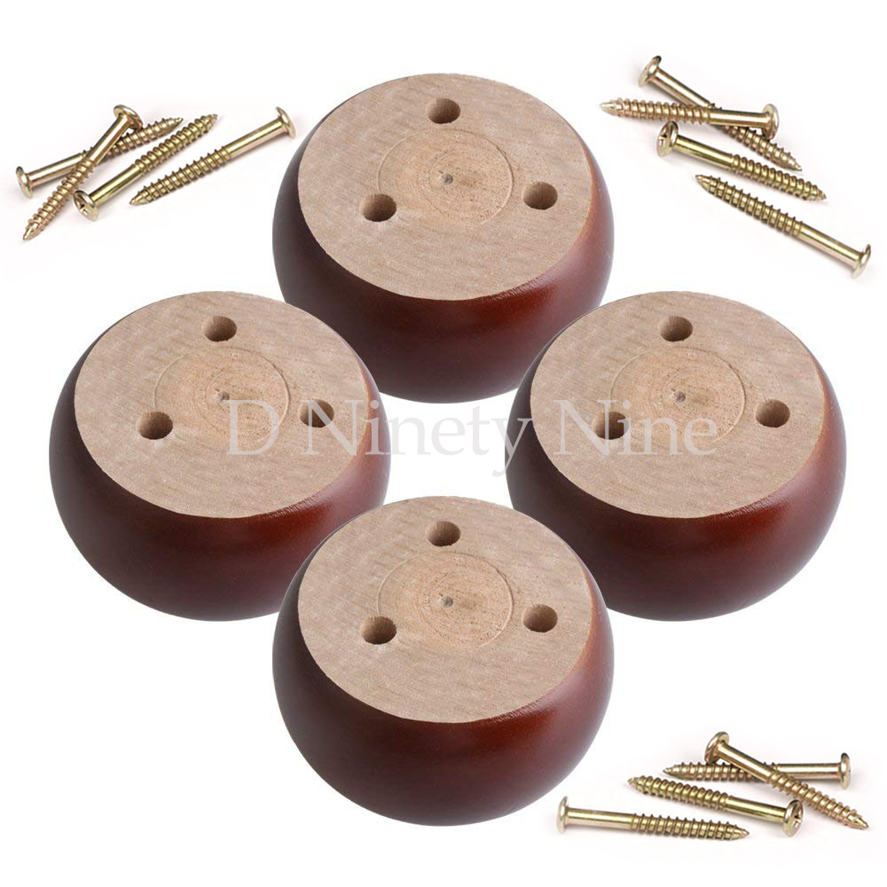 96x96x50mm Red Brown Eucalyptus-Wood Round Furniture Legs Feet 100kg Bearing Weight For Sofas Cabinets Tables Bed Set Of 4