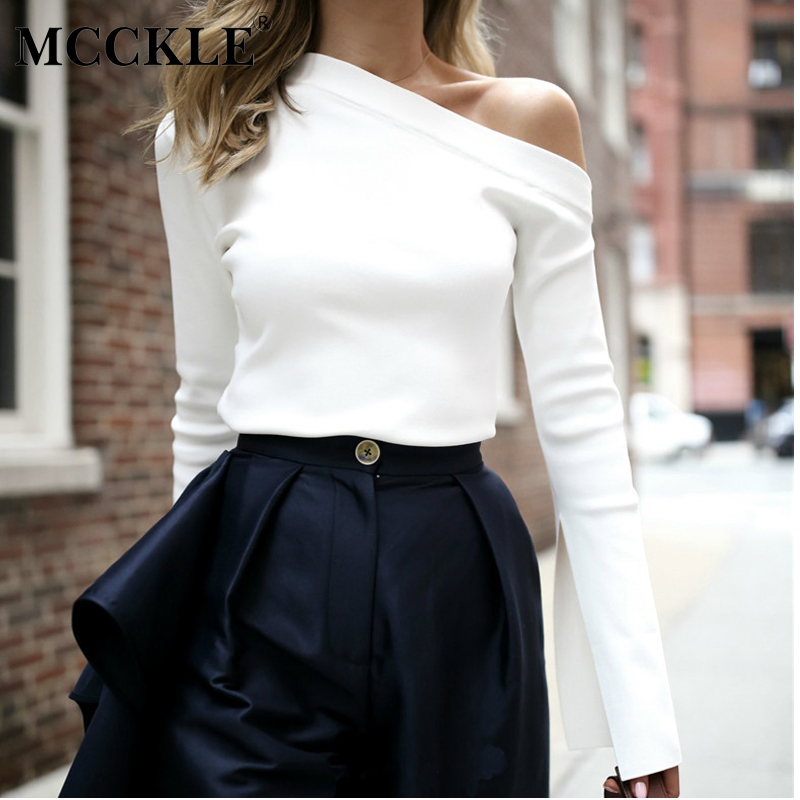 MCCKLE Women's White Off Shoulder   Blouse     Shirt   Long Sleeve 2019 Spring Tops and   Blouses   Summer Sexy Skew Collar   Shirts   Women
