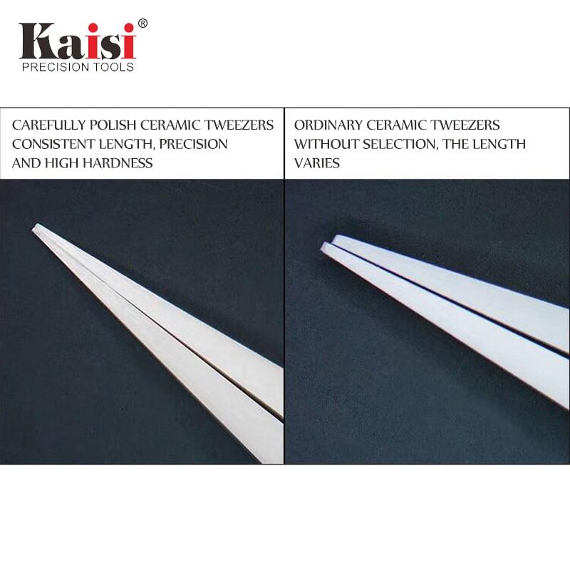 Купить с кэшбэком kaisi  High-Class Stainless Steel Precision Ceramics Head Tip Straight Tweezers for Mobile Phone Repair Tool
