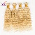 """Pelo indio 613 Blonde vírgenes Afro rizado Curly Hair Extensions 3 / 4 Bundles 10 """" - 30 """" pelo rizado rubio Miracal pelo ¡ envío libre"""