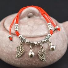 1PC Fashion Ethnic Red Rope Chain Adjustable Silvery Pendant Elephant Dragonfly Palm Cross Heart Women Weaven Bracelets
