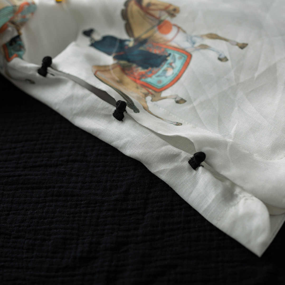 Ретро Национальный Ветер рами семь рукав цифровой печати перламутровая Кнопка рубашка Стенд воротник для китайской одежды хан чай сервис
