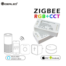 zigbee hub ZLL app led Controller Bridge RGBW WW/CW LED Tape Controller DC12V 24V LED Strip ZLL Controller Echo Plus Alexa zigbee ww cw led controller compatible smart home bridge zigbee dimmer for led strip dc 12v 24v amazon alexa echo zll controller
