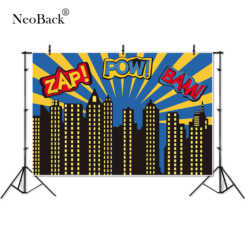 NeoBack Cartoon Photography backdrop superhero birthday party super girl city sky building night baby shower photo booth B3161