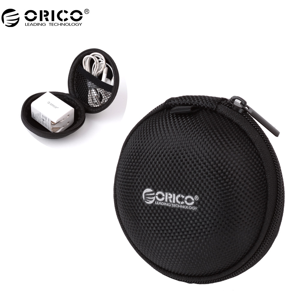 ORICO Portable Case for Headphones Case Mini Zippered Round Storage Hard Bag Headset Box for Earphone Case SD TF Cards Earphone spark storage bag portable carrying case storage box for spark drone accessories can put remote control battery and other parts