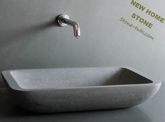 Rectangular Stone Vessel Sink Blue Limestone Honed Surface Finished Modern  Style Design New Home Stone Bathroom