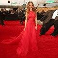 Sexy Red Chiffon Celebridade Agriões 2017 Rihanna Vestido Halter Criss Cross Voltar Awards Tapete Vermelho Vestido Vestido De Festa