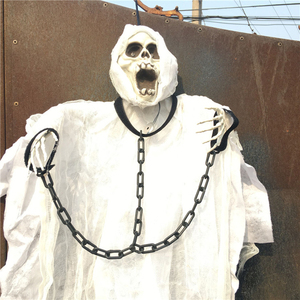 Image 3 - 36inch 90cm Tall White Halloween Decoration Hanging Ghost with Chain Light up Eyes Sound and Sensor for Halloween Props