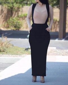 Image 3 - Женская длинная юбка макси на подтяжках, хлопковая юбка с поясом в мусульманском стиле, большие размеры, SK9018