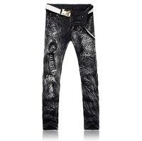 2016 novos homens de impressão desenho colorido ou padrão discotecas jeans, Famosa marca de moda Designer Denim Jeans men, Plus - tamanho 28 - 36