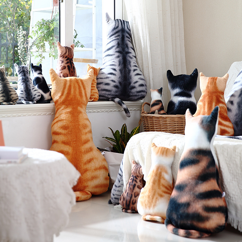 Plush Artificial Cat Cushion Stuffed Funny Toys Birthday Gift Pet 3D Cat Shape Cushion Decorative Pillows For Sofa Cool