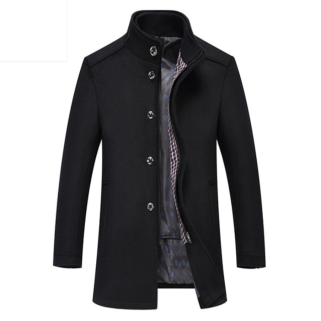 2 In 1 Winter Wool Coat Men...