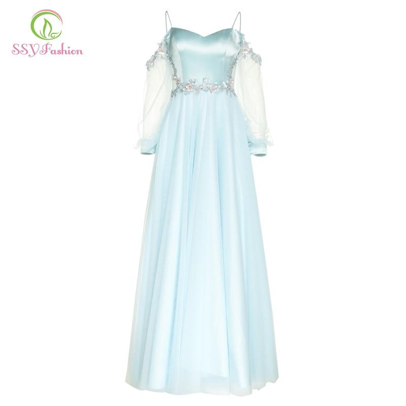 Ssyfashion Long Sleeve Wedding Dresses The Bride Elegant: SSYFashion New Sweet Blue Satin Tulle Long Evening Dress