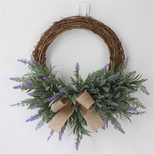 1PC Artificial Flower Lavender Wreath Door Knocker Decorative Wall Pendant Home Wedding Background Accessories Fake Flowers