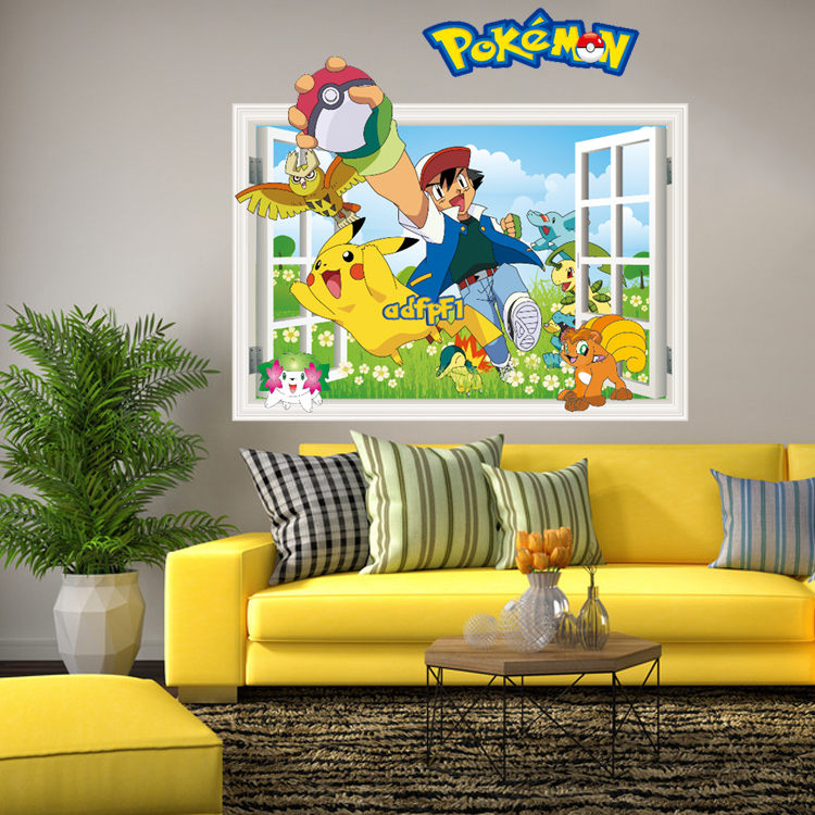 3D Hot Pokemon Wall Stickers for Kids Rooms Home Decorations Pikachu ...