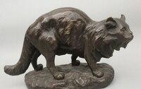 006999 6Western Art Decor Copper Bronze Sculpture Persian cat Marble Base Statue Figur