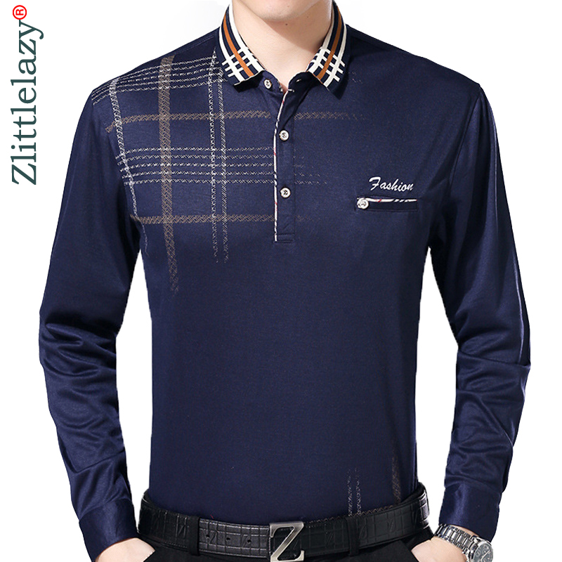 2018 fashion brand   polo   shirt men plaid fitness pocket camisa masculino streetwear mens   polos   shirts sweatshirts poloshirt 3022