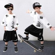 2017 summer time harem model trend Baby boys model t-shirts & Fake two piece shorts informal garments hip hop fits Kids clothes units