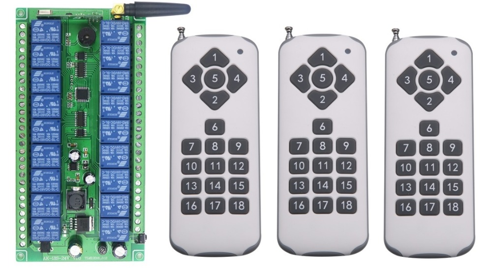 DC 12V 24V 18 CH 18CH RF Wireless Remote Control Switch System,3 X Transmitter + Receiver,315/433MHZ,Momentary Latched Toggle new ac 220v 30a relay 1 ch rf wireless remote control switch system toggle momentary latched 315 433mhz