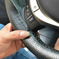 1PC DIY PU Leather Car Steering Wheel Cover Hand Sewing with Needles and Thread Gray/Black/Beige BJ