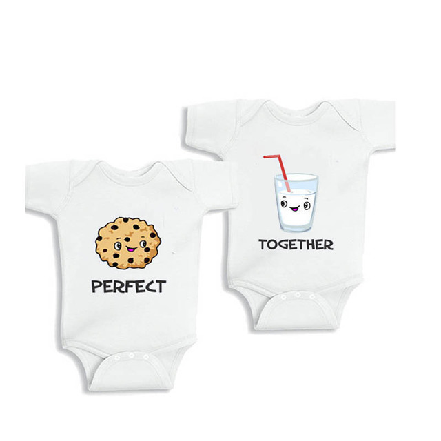 9868f32d6 YSCULBUTOL perfect together milk twin unisex boy girl Funny White Short  Sleeve Baby Bodysuit