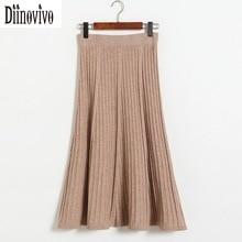 Fashion Elegant knitted Women s Skirt Vintage style Pleated Skirt 2017 New Autumn Winter Long Skirts