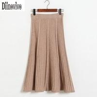 Moda Elegante estilo Falda Plisada Falda de Las Mujeres de La Vendimia de punto 2017 Nuevo Otoño Invierno Faldas Largas de Cintura Alta A-Line Saia D149