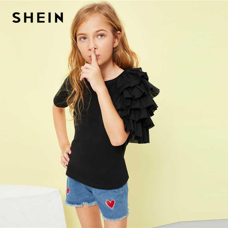 6825e6af2935 ... SHEIN Black Girls Layered Ruffle Sleeve Casual T-Shirt Girls Tops 2019  Spring Fashion Short