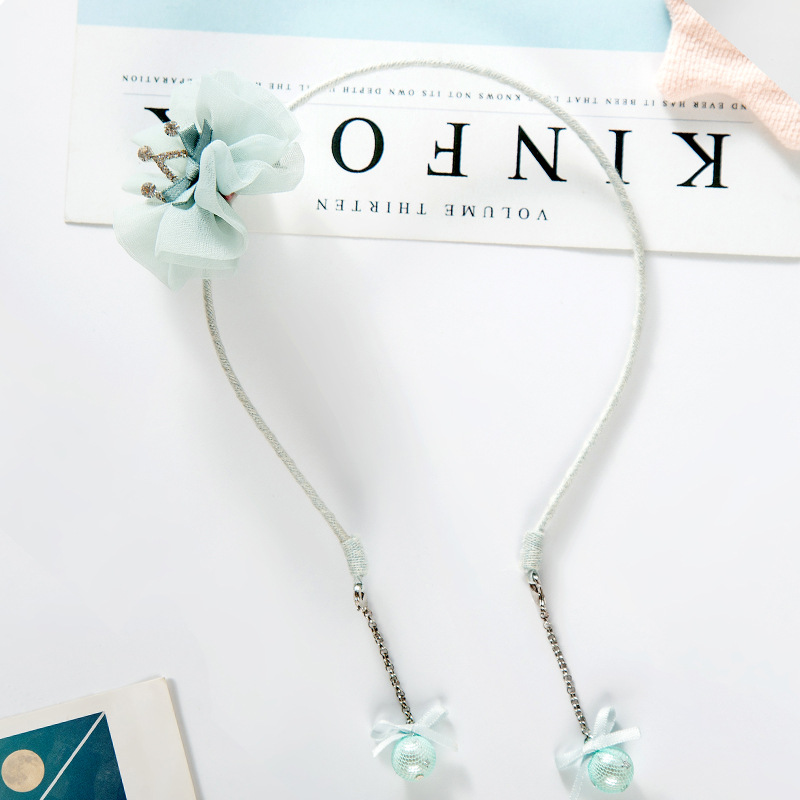 Korea Hand Made lovely Flower Crown Pendant Hair Accessories For Girls Pearl Hair Band Headband Hair Bow Princess 4