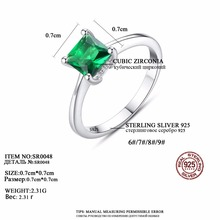 Emerald Zircon Stone 925 Sterling Silver Finger Ring