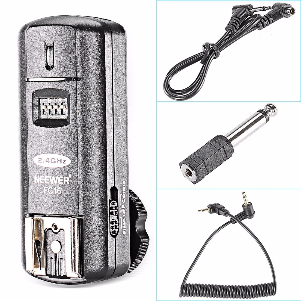 Neewer FC-16 Multi-Channel 2.4GHz 3-IN-1 Wireless Hot Shoe Flash Receiver for Canon and Nikon DSLR Cameras Free Shipping