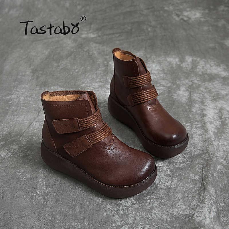 Tastabo El Yapımı zanaat çizmeler Siyah kahverengi artı kadife çıplak çizmeler Muffin alt kadın botları Rahat astar Retro rahat