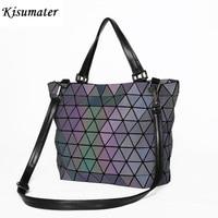 Kisumater Luminous Bag Women Geometry Sequins Mirror Plain Folding Bags Matt Color Casual totes female handbag baobao bag