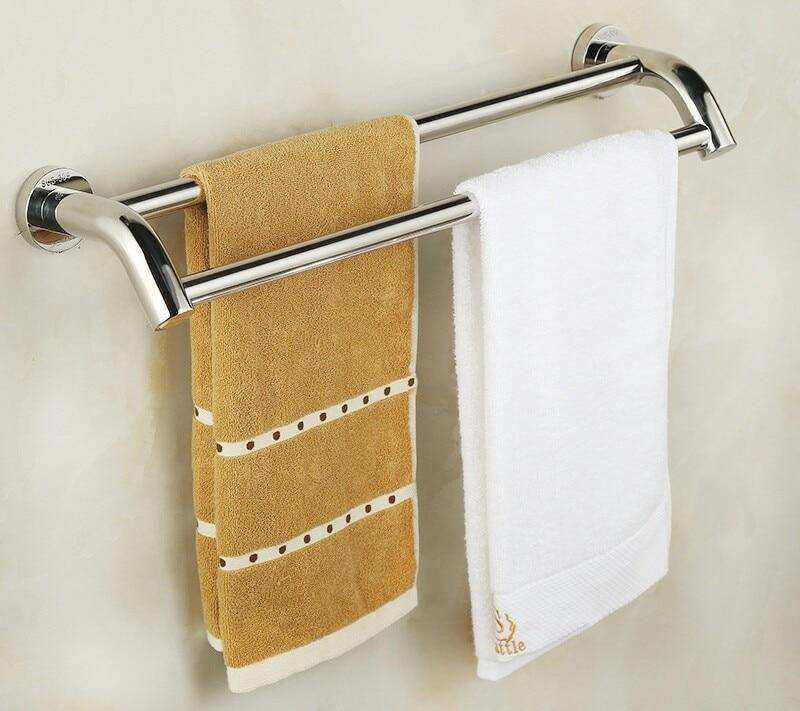 Towel Bars Bathroom Hardware Bathroom Fixture Home Improvement 304 Stainless Steel Double Towel Bar Sets 33cm 183cm Whole Sale