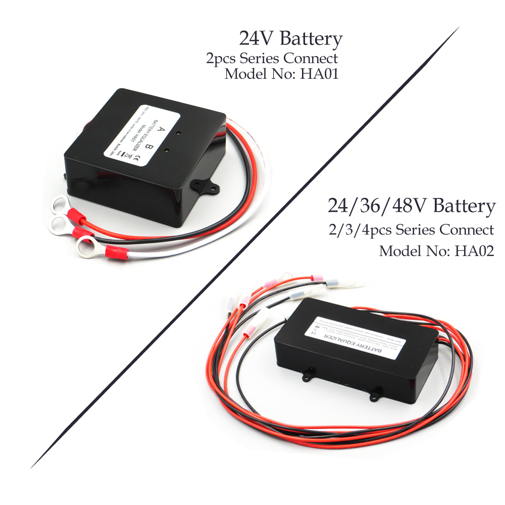 HA01 <font><b>HA02</b></font> 48V&24V Solar System Battery Equalizer Battery Balancer Charger Controller for Lead Acid Battery Bank System Black image