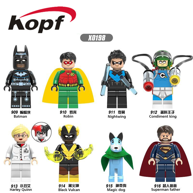 Single Sale Super Heroes Batman Robin Nightwing Condiment King Harley Quinn Building Blocks Toys Gifts Model for Children X0198 single sale mighty micros robin bane ultron batman super heroes justice league minifig model building blocks kids toys