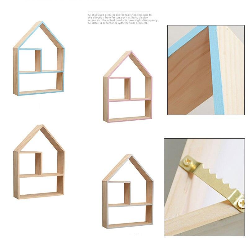 Maison bureau débris stockage Rack maison forme multi-couche étagère bois artisanat décorations murales cuisine outil titulaire clé poupée organisateur - 5