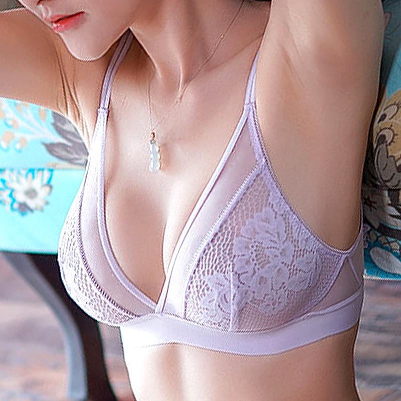 See Through   Bra   And Panty   Sets   Brand Lace Brassiere Ultrathin Transparent Women Underwear   Bra   Seamless Sexy Lingerie   Set   Purple