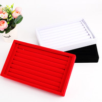 Red Velvet Ring Earrings Display Jewelry Case Organizer 1PCS Cufflinks Display Box Storage Case Holder Organizer