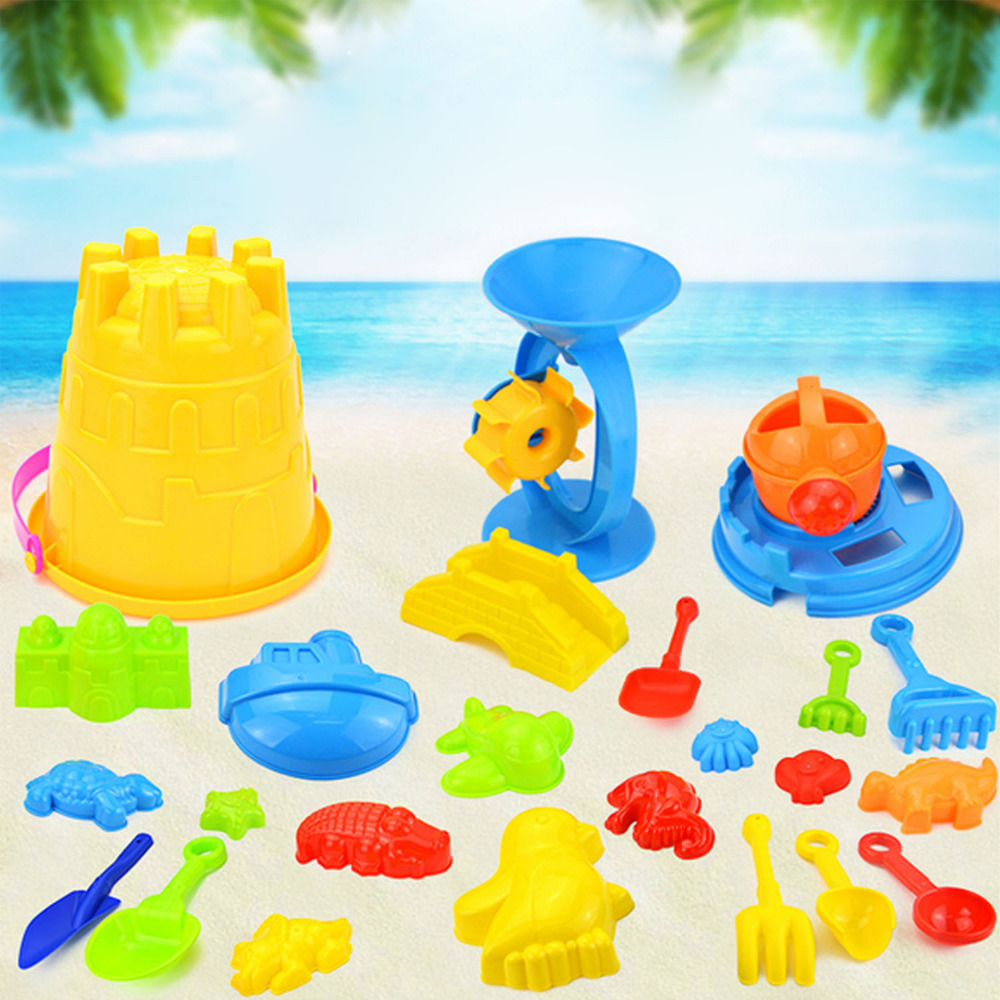 25Pcs Funny Kids Beach Sand Game Toys Set Shovels Rake Hourglass Castle Bucket Baby Outdoor Watering Playset Role Play Toy Kit