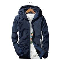 Spring Men Bomber Jacket Casual Solid Thin Slim Zipper Coat Stand Collar Autumn Sportswear Windbreaker Jacket Hooded Outwear 3XL
