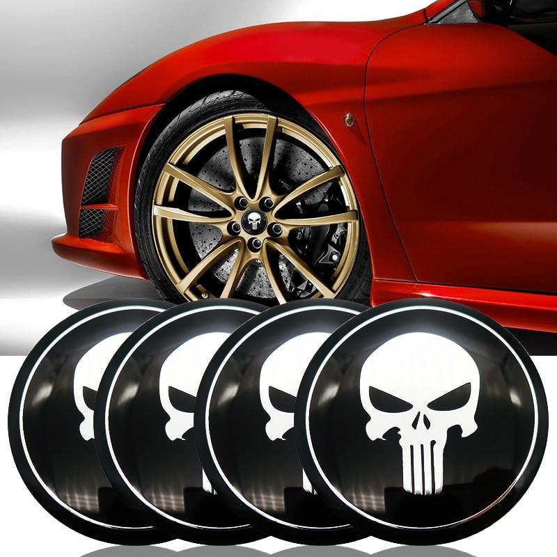 DSYCAR Set of 4 Skull Wheel Hub Caps Centre Cover car sticker Hub Centre Caps Silver