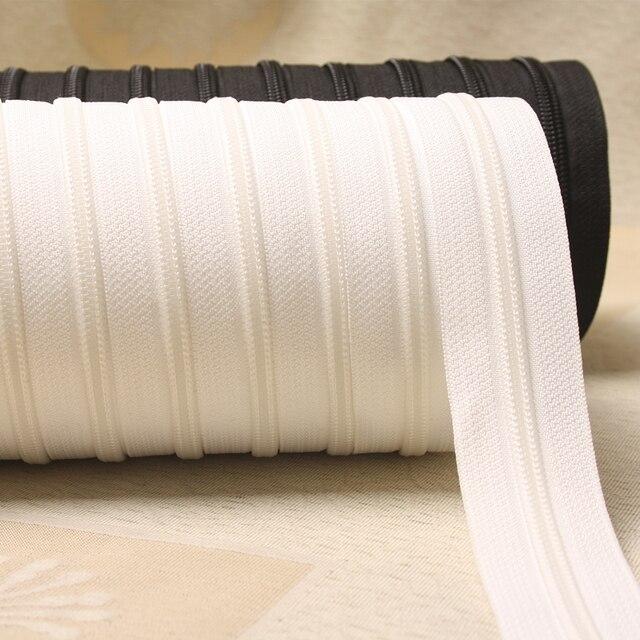Молния #3 белый черный 1 м нейлон катушки Застежки-молнии для шитья оптовая продажа Двойной Ползунки закрытый конец Вышивание Craft Бесплатная доставка