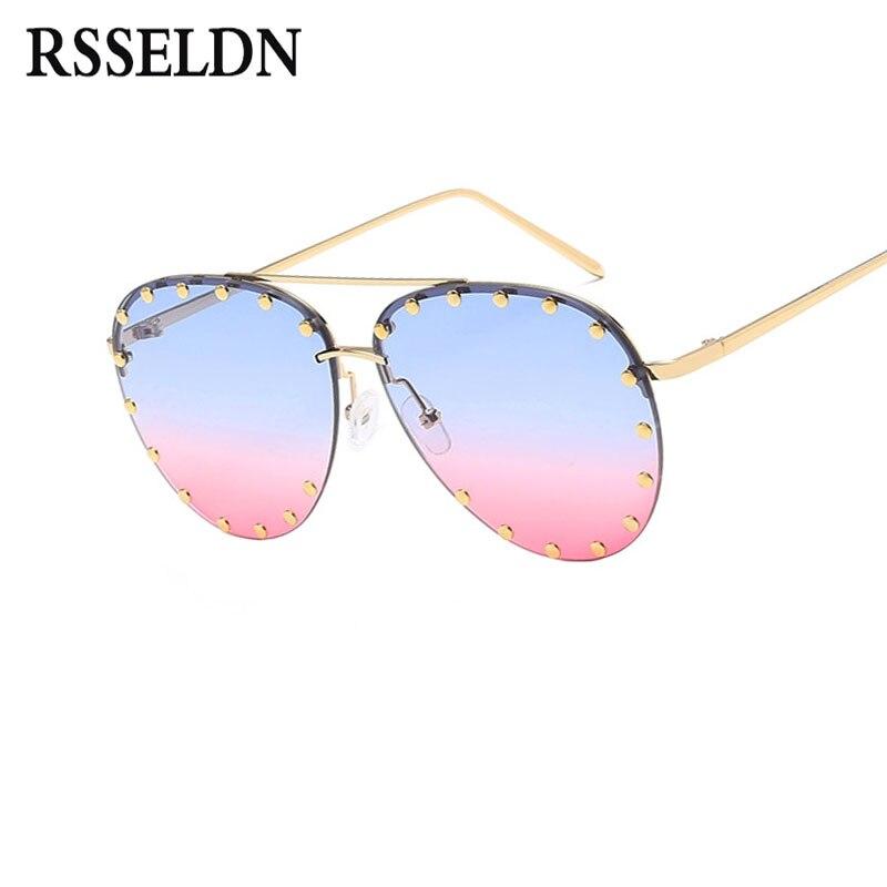 b4aec942e4fe0 RSSELDN Piloto Óculos De Sol Das Mulheres Da Moda Verão Rosa Verde ...